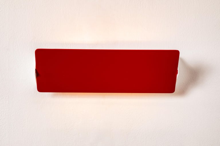 Painted Large Charlotte Perriand 'Applique À Volet Pivotant Double' Wall Lights in Red For Sale