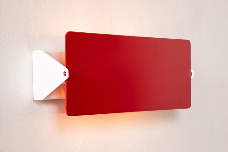 Large Charlotte Perriand 'Applique À Volet Pivotant Double' Wall Lights in Red In New Condition For Sale In Glendale, CA