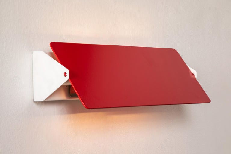 Contemporary Large Charlotte Perriand 'Applique À Volet Pivotant Double' Wall Lights in Red For Sale