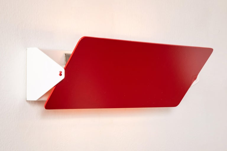 Metal Large Charlotte Perriand 'Applique À Volet Pivotant Double' Wall Lights in Red For Sale