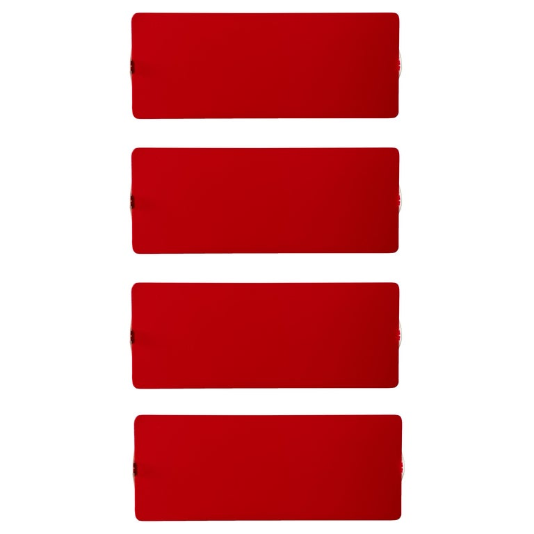 Large Charlotte Perriand 'Applique À Volet Pivotant Double' Wall Lights in Red For Sale