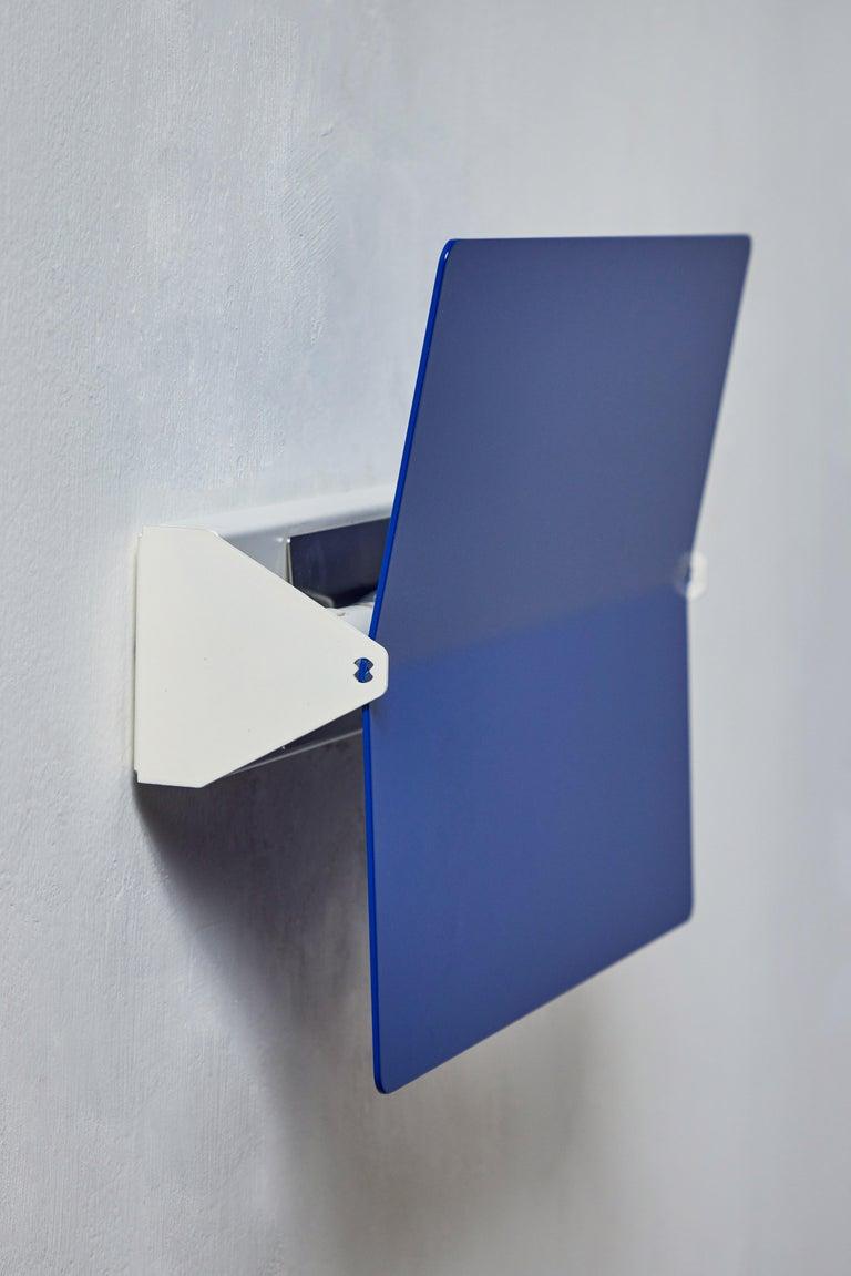 Large Charlotte Perriand 'Applique À Volet Pivotant Plié' Wall Light in Blue For Sale 2