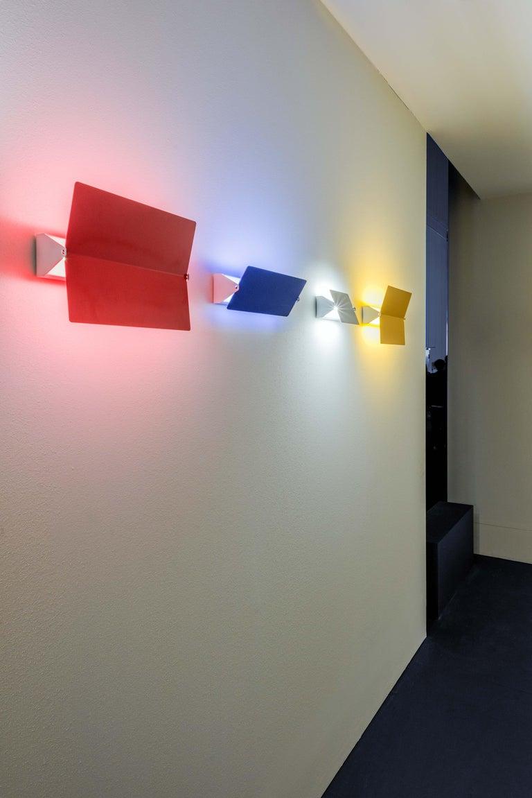 Large Charlotte Perriand 'Applique À Volet Pivotant Plié' Wall Light in Blue For Sale 5