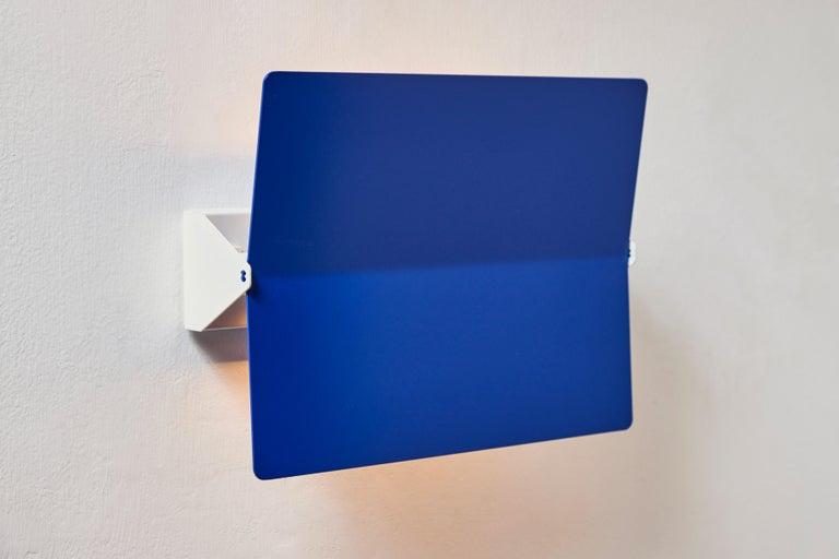 French Large Charlotte Perriand 'Applique À Volet Pivotant Plié' Wall Light in Blue For Sale