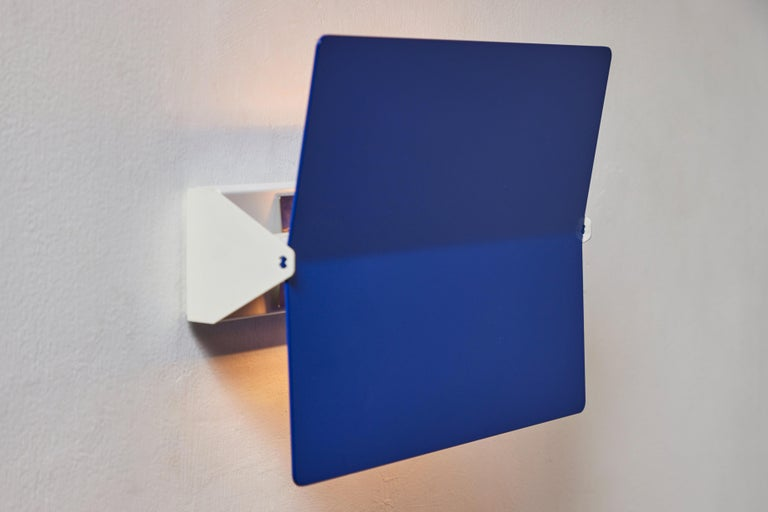 Anodized Large Charlotte Perriand 'Applique À Volet Pivotant Plié' Wall Light in Blue For Sale