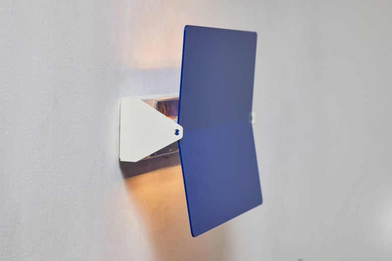 Large Charlotte Perriand 'Applique À Volet Pivotant Plié' Wall Light in Blue In New Condition For Sale In Glendale, CA