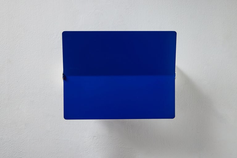 Metal Large Charlotte Perriand 'Applique À Volet Pivotant Plié' Wall Light in Blue For Sale