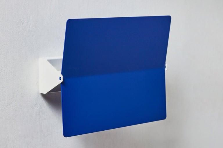 Large Charlotte Perriand 'Applique À Volet Pivotant Plié' Wall Light in Blue For Sale 1