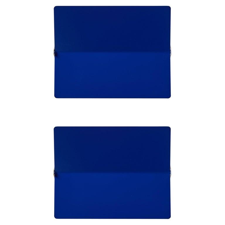 Large Charlotte Perriand 'Applique À Volet Pivotant Plié' Wall Light in Blue For Sale