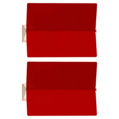 Large Charlotte Perriand 'Applique À Volet Pivotant Plié' Wall Light in Red