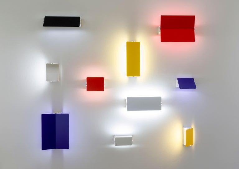 Anodized Large Charlotte Perriand 'Applique À Volet Pivotant Plié' Wall Light in Yellow For Sale
