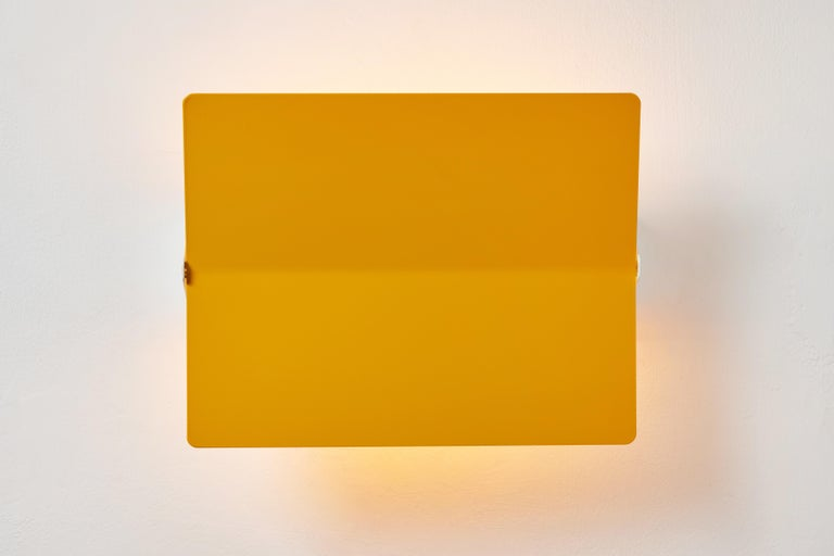 Large Charlotte Perriand 'Applique À Volet Pivotant Plié' Wall Light in Yellow In New Condition For Sale In Glendale, CA