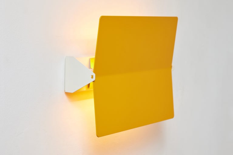 Metal Large Charlotte Perriand 'Applique À Volet Pivotant Plié' Wall Light in Yellow For Sale