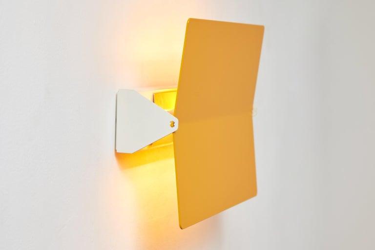 Large Charlotte Perriand 'Applique À Volet Pivotant Plié' Wall Light in Yellow For Sale 1