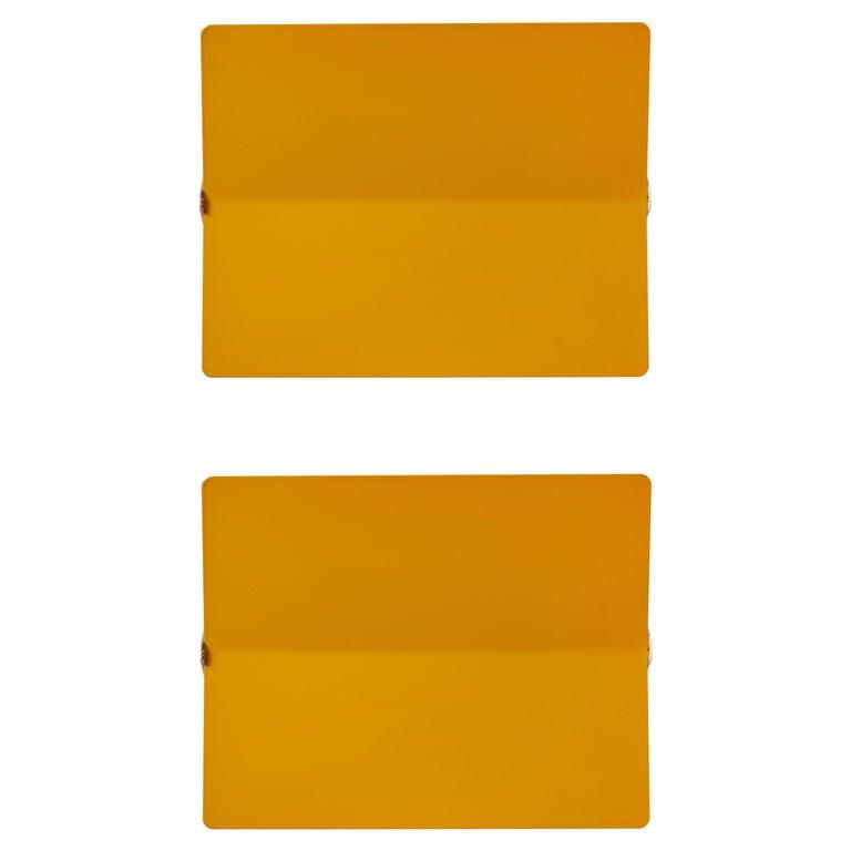 Large Charlotte Perriand 'Applique À Volet Pivotant Plié' Wall Light in Yellow For Sale