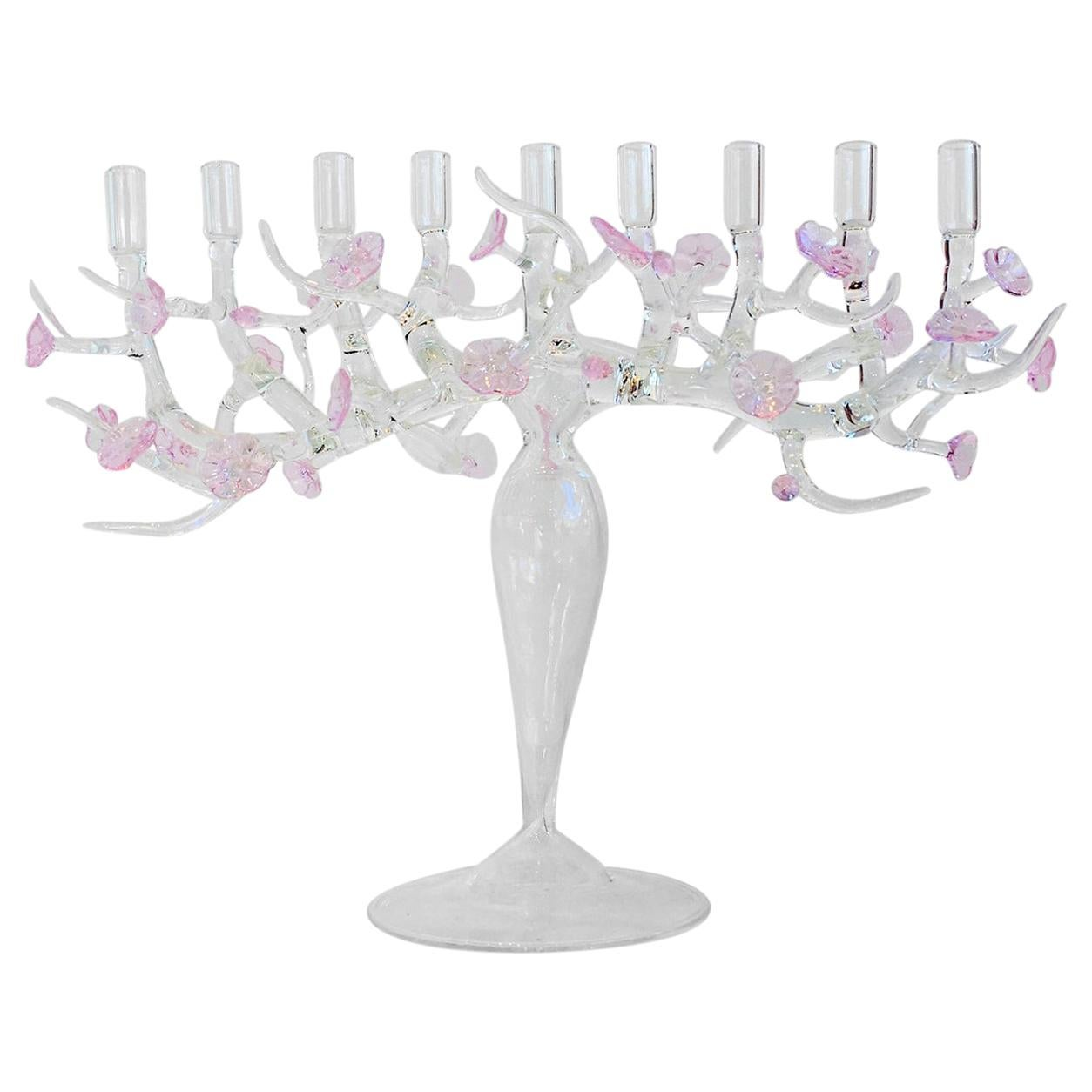 In Stock in Los Angeles, Large Cherry Blossom Menorah Glass Sculpture