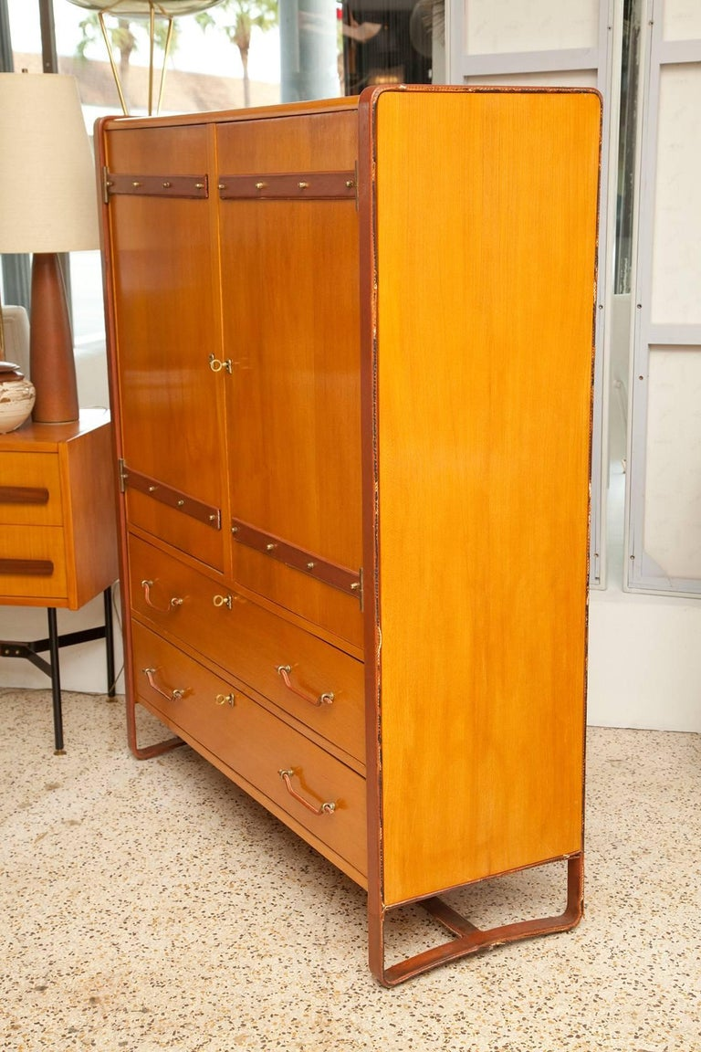 Large Cherrywood and Leather Cabinet by Jacques Adnet, circa 1950 In Good Condition For Sale In North Miami, FL