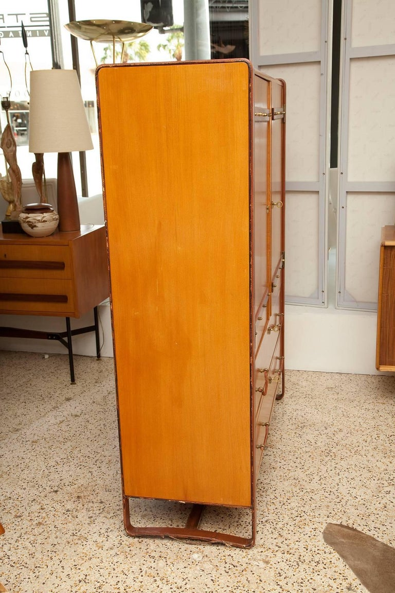 Mid-20th Century Large Cherrywood and Leather Cabinet by Jacques Adnet, circa 1950 For Sale
