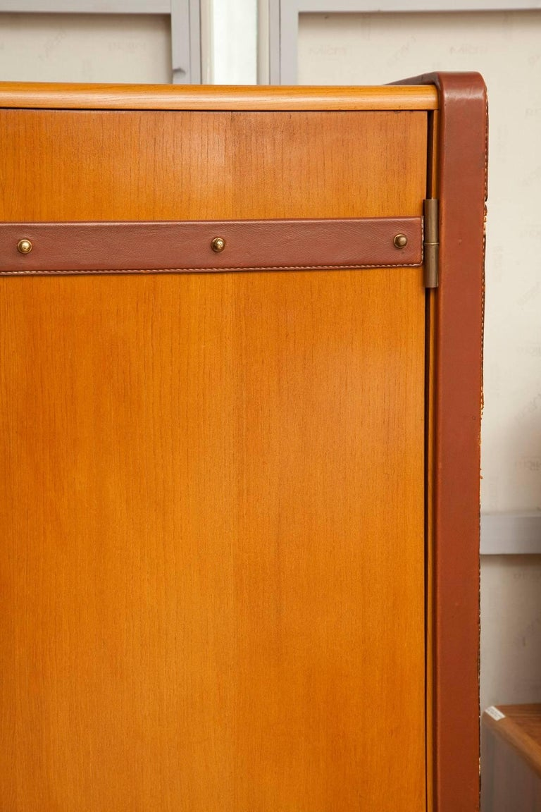 Large Cherrywood and Leather Cabinet by Jacques Adnet, circa 1950 For Sale 2