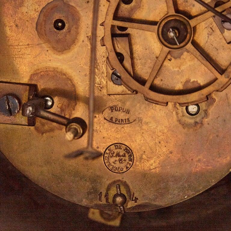 Large cherub-themed gilt bronze clock garniture by Popon For Sale 1
