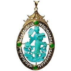 Large China Pagoda Gold Pendant, Enhancer with Turquoise Carving and Jade