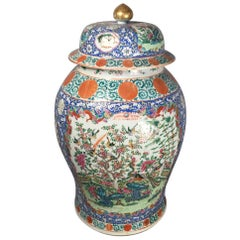 Large Chinese 19th Century Famille Rose Lidded Jar
