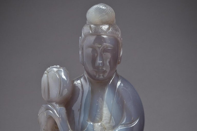 Large Chinese Agate figure of Kuan Yin, circa 1890.