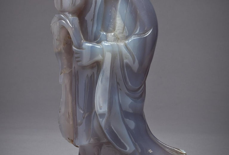Late 19th Century Large Chinese Agate Figure of Kuan Yin, circa 1890 For Sale
