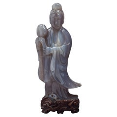 Large Chinese Agate Figure of Kuan Yin, circa 1890