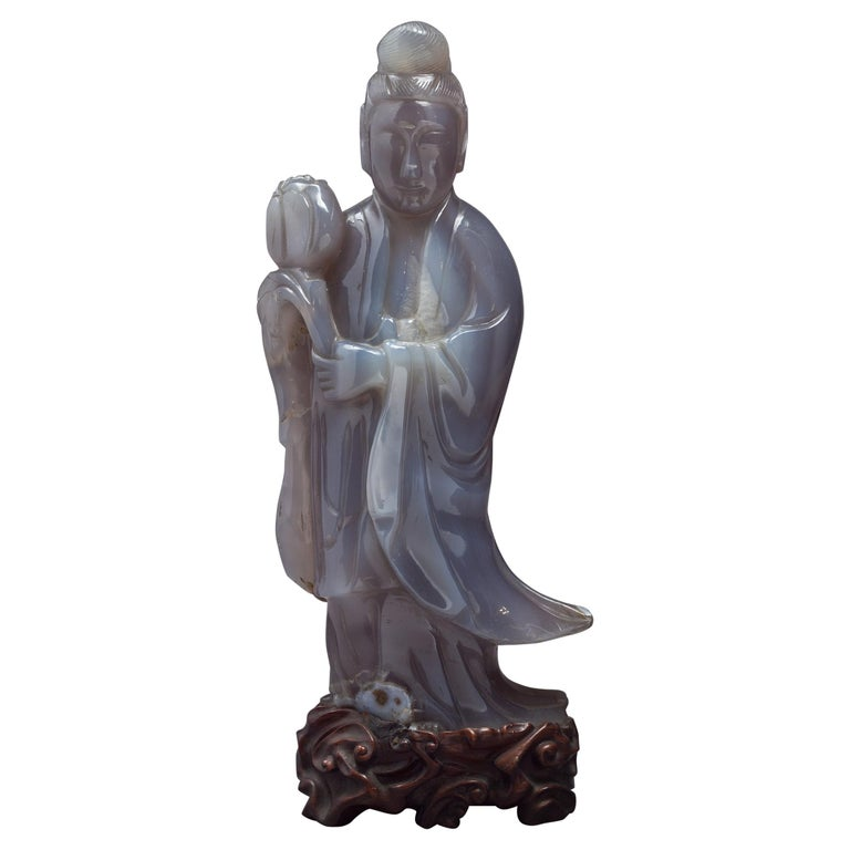 Large Chinese Agate Figure of Kuan Yin, circa 1890 For Sale