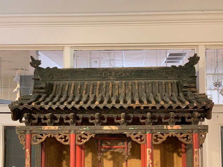 Softwood Large Chinese Ancestral Hall Architectural Model, Qing Dynasty, 18th Century For Sale