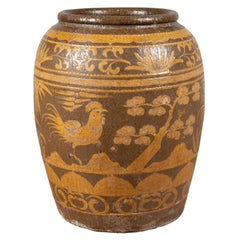 Large Chinese Antique Jar with Mustard Glaze, Bird and Floral Motifs, circa 1900