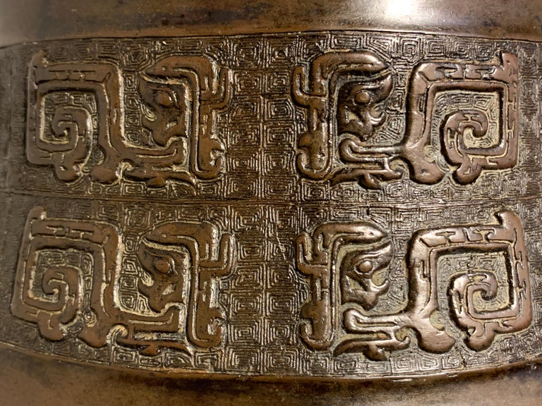 Large Chinese Archaistic Bronze Hu Arrow Vase, Ming/Qing Dynasty, 17th Century For Sale 6
