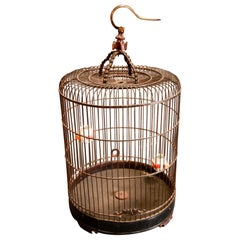 Large Chinese Bamboo Birdcage with Bird Feeders, Early 20th Century