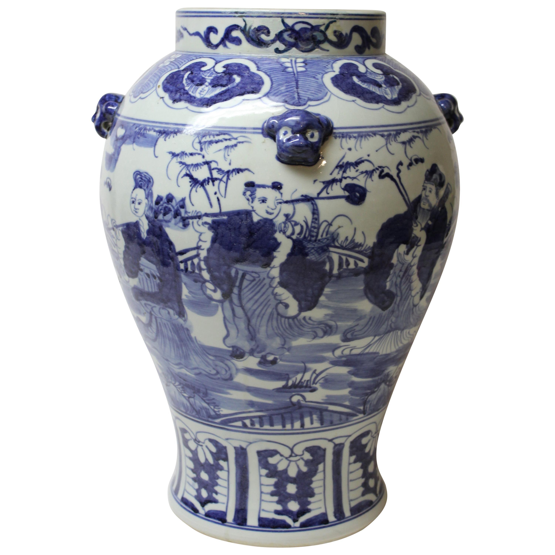 Large Chinese Blue and White Ceramic Vase
