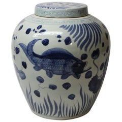 Large Chinese Blue and White Ginger Jar with Lid