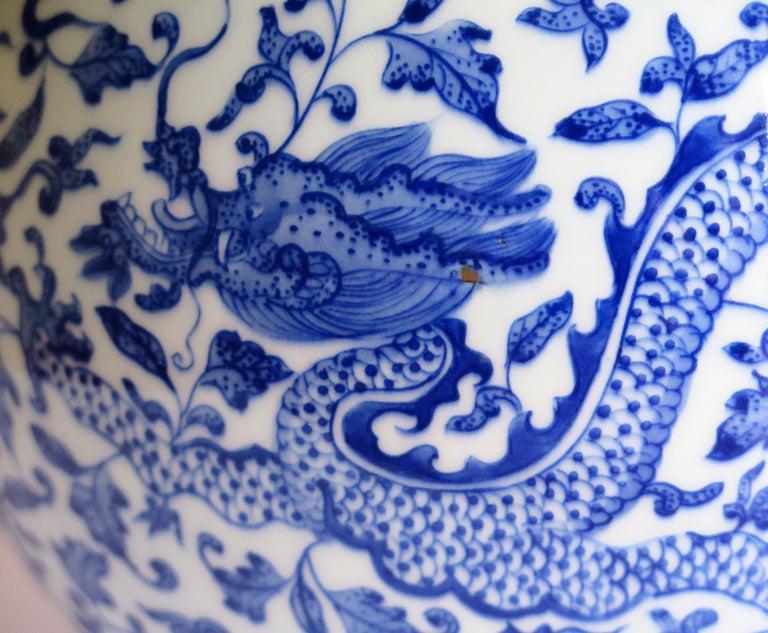 Large Chinese Blue and White Porcelain Bottle Vase, Qing Quianlong Mark For Sale 7