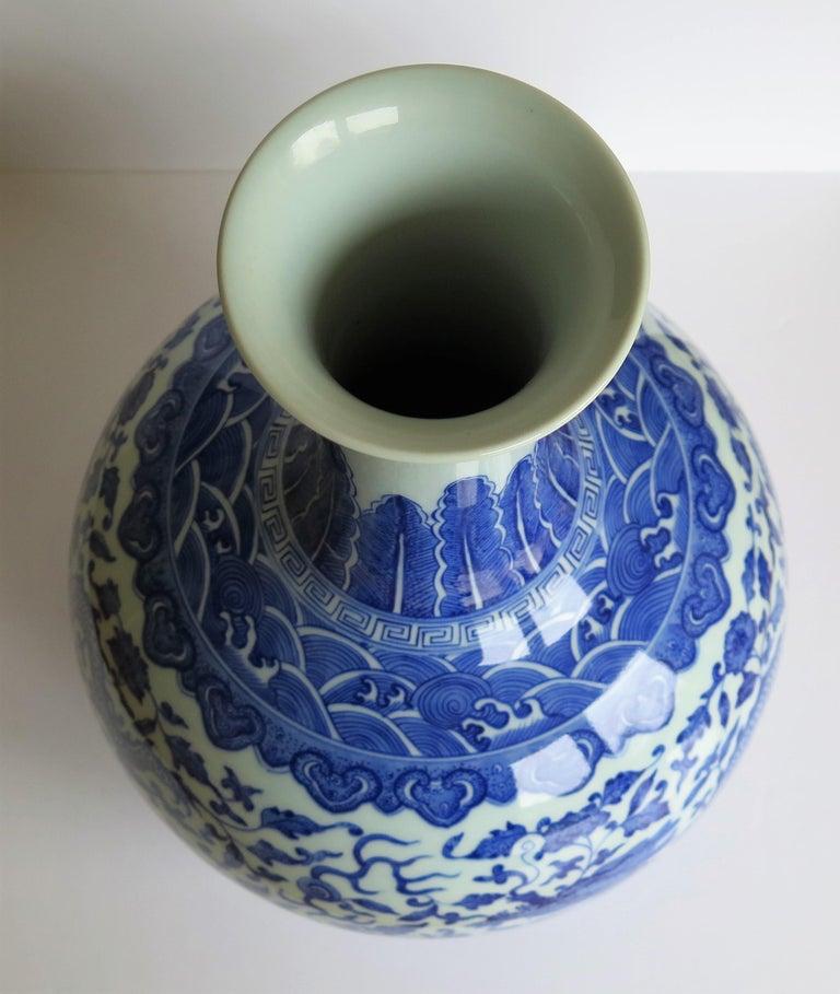 Large Chinese Blue and White Porcelain Bottle Vase, Qing Quianlong Mark For Sale 11