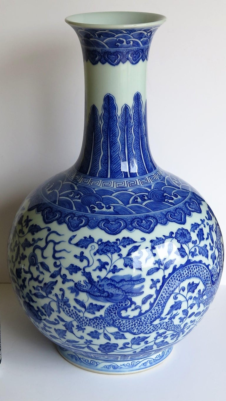 20th Century Large Chinese Blue and White Porcelain Bottle Vase, Qing Quianlong Mark For Sale