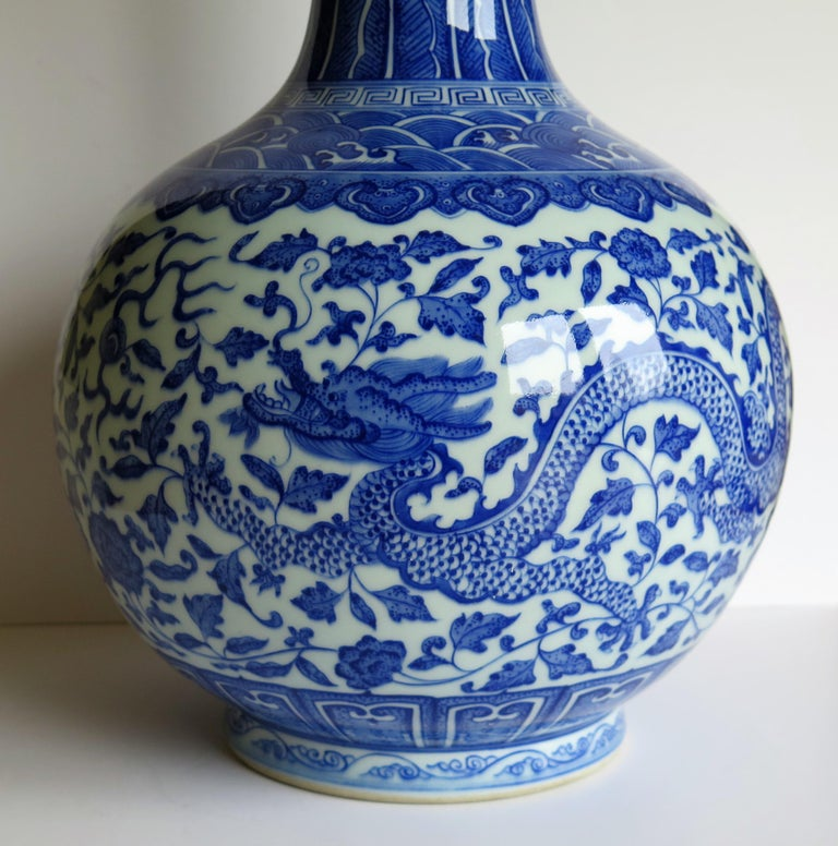 Large Chinese Blue and White Porcelain Bottle Vase, Qing Quianlong Mark For Sale 2