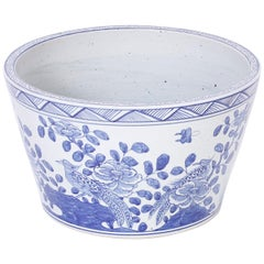 Large Chinese Blue and White Porcelain Bowl or Planter