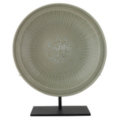 Large Chinese Celadon Shallow Bowl with Central Incised Peony Element