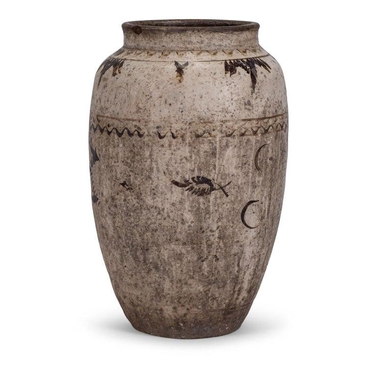 Glazed Large Chinese Cizhou Stoneware Wine Jar For Sale