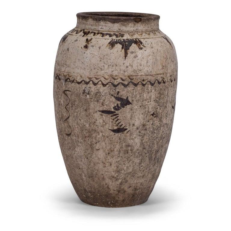 Large Chinese Cizhou Stoneware Wine Jar For Sale 1
