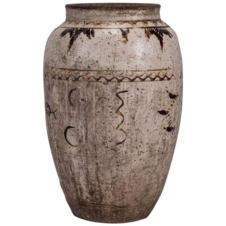Large Chinese Cizhou Stoneware Wine Jar For Sale
