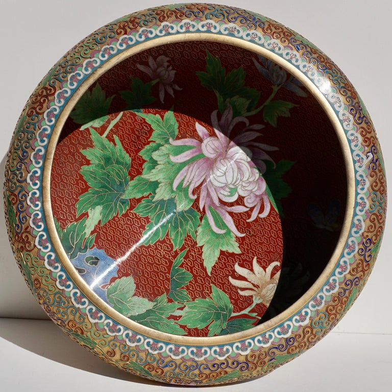 Chinoiserie Large Chinese Cloisonné Champlevé Floral Bowl For Sale