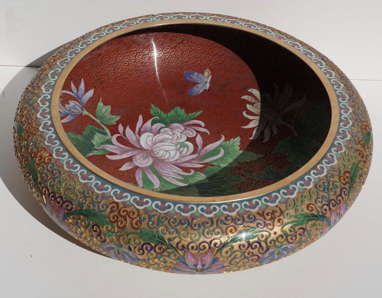Cloissoné Large Chinese Cloisonné Champlevé Floral Bowl For Sale
