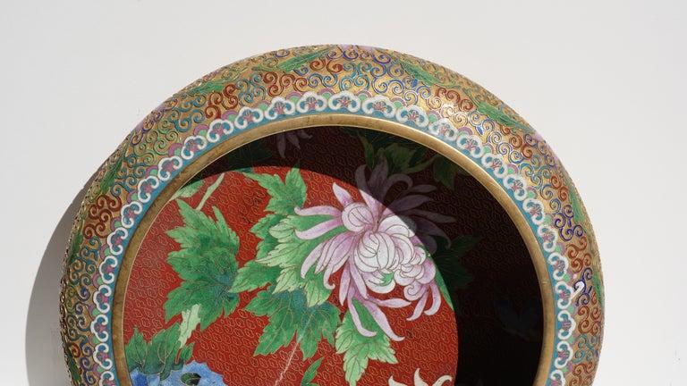 20th Century Large Chinese Cloisonné Champlevé Floral Bowl For Sale