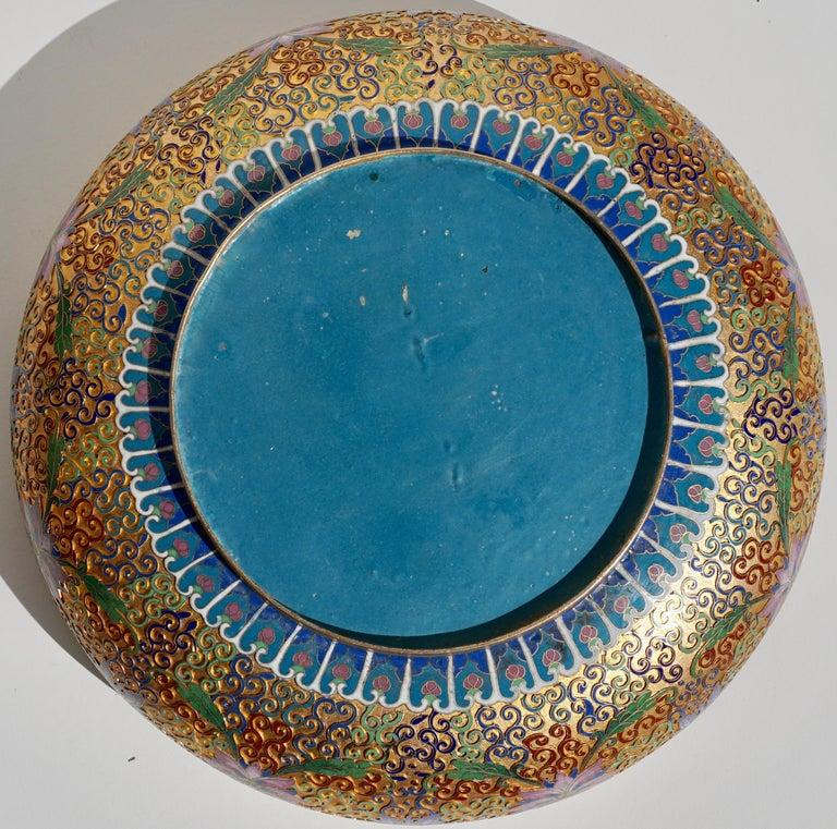 Bronze Large Chinese Cloisonné Champlevé Floral Bowl For Sale