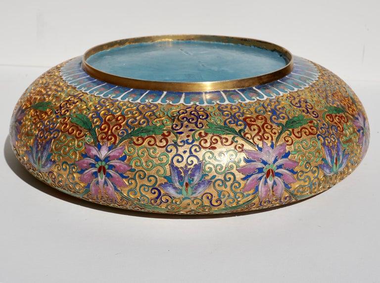 Large Chinese Cloisonné Champlevé Floral Bowl For Sale 1